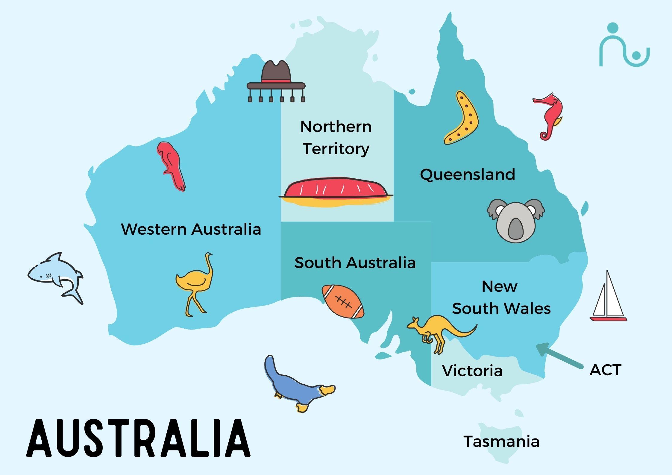 map of Australia for Kids