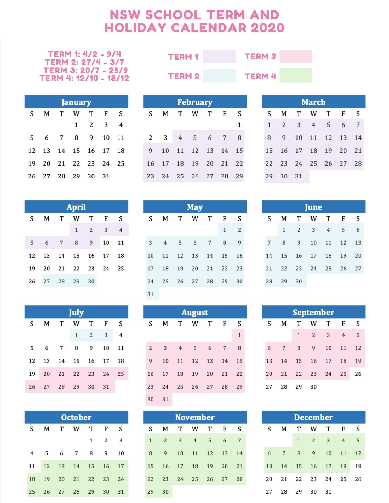 NSW School Holidays 2020