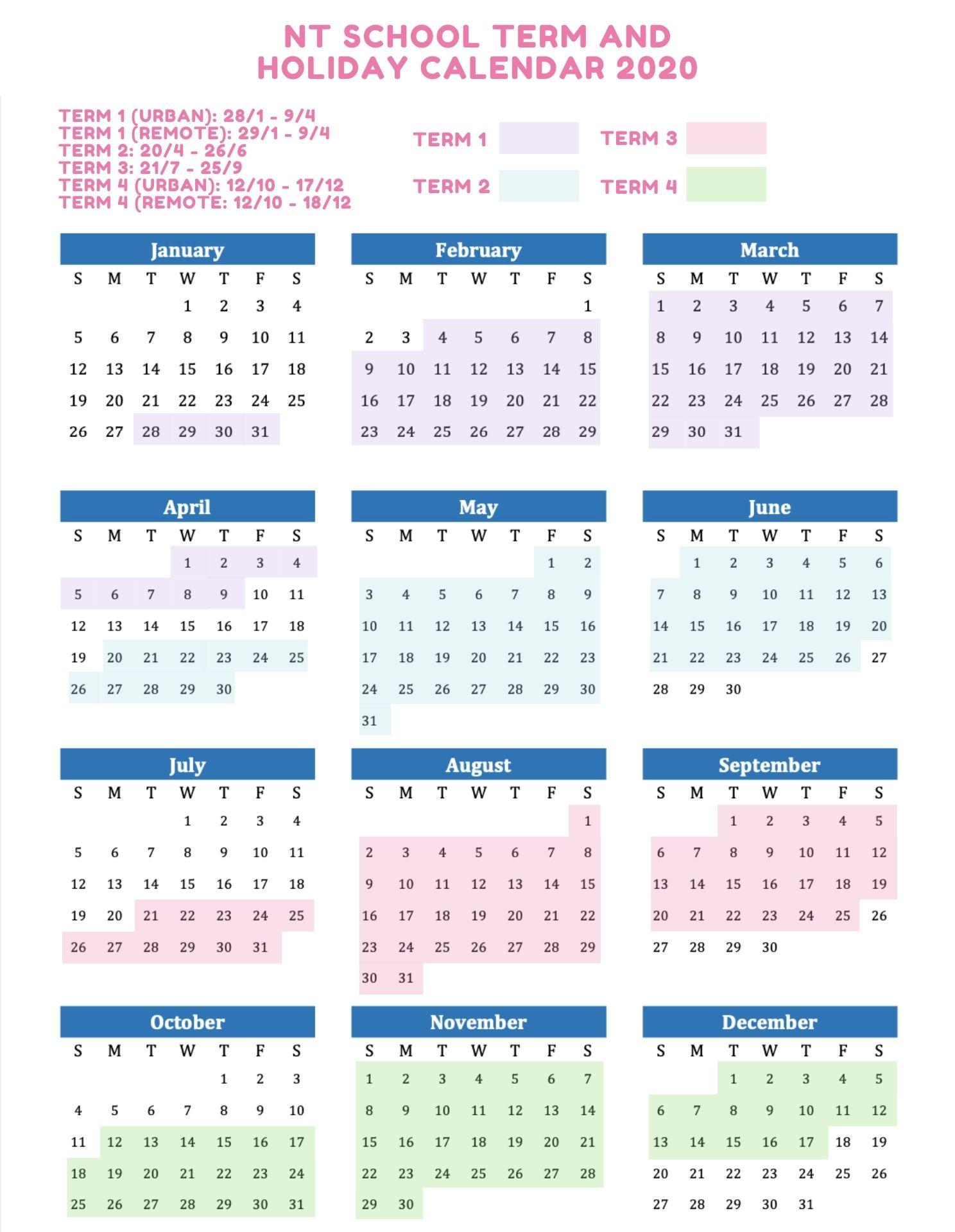 NT School Holidays 2020