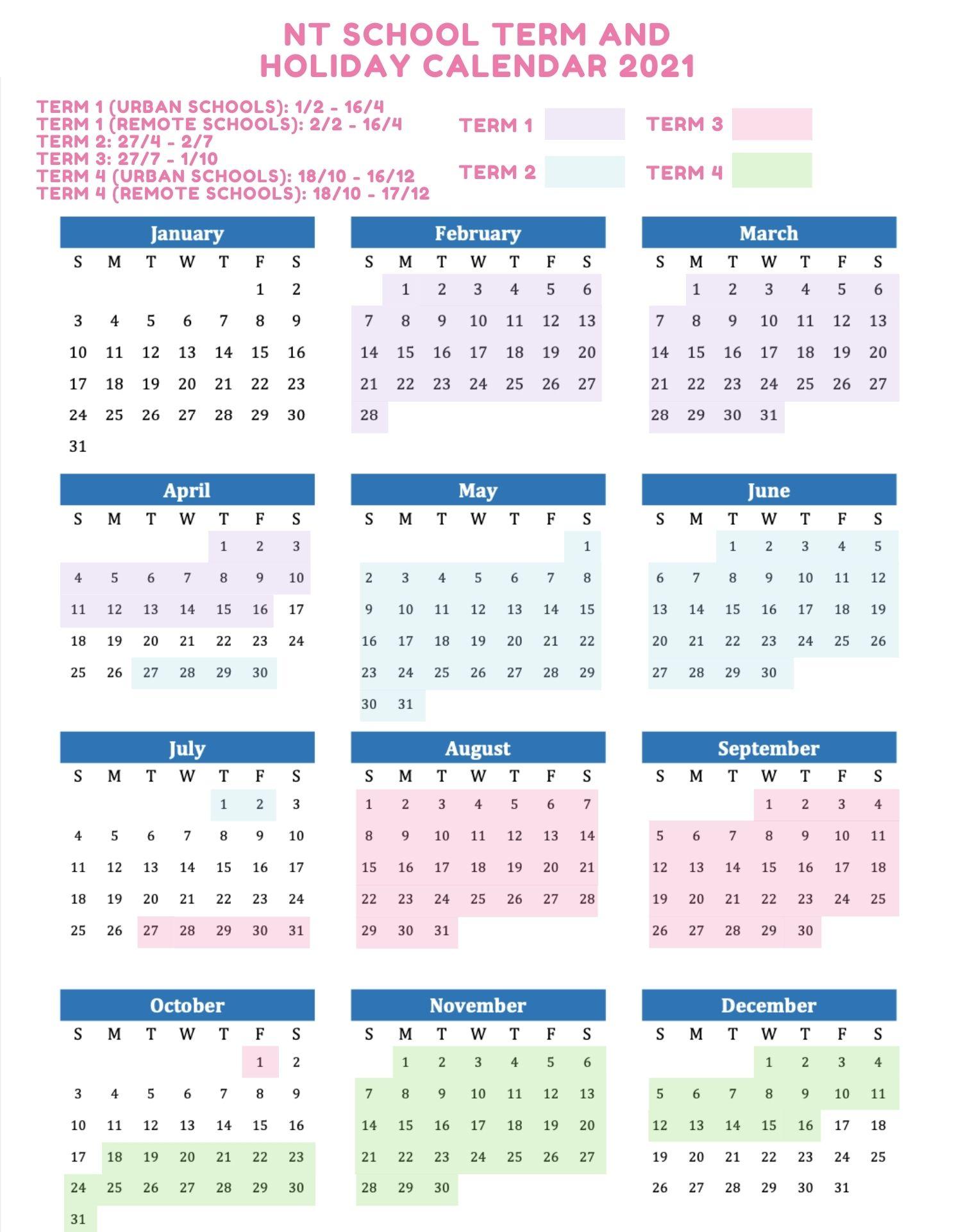NT School Holidays 2021