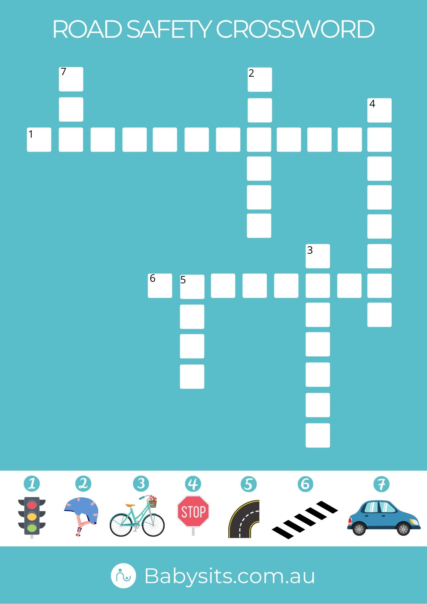 Road Safety Crossword for Kids