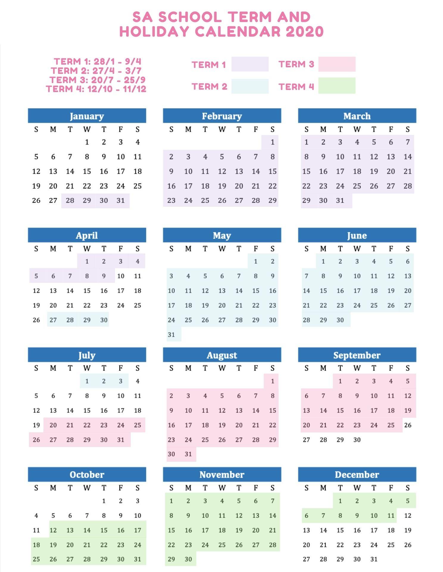 SA School Holidays 2020