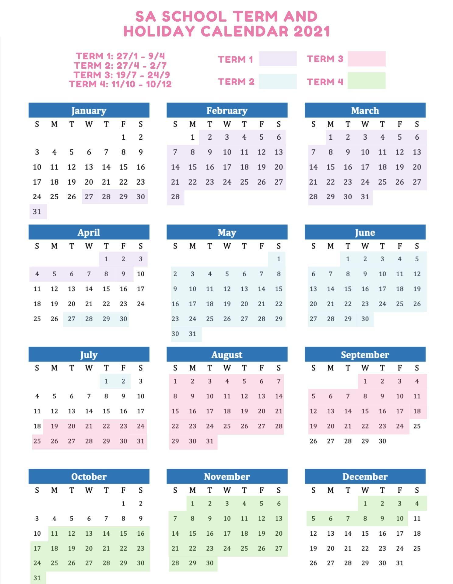 SA School Holidays 2021