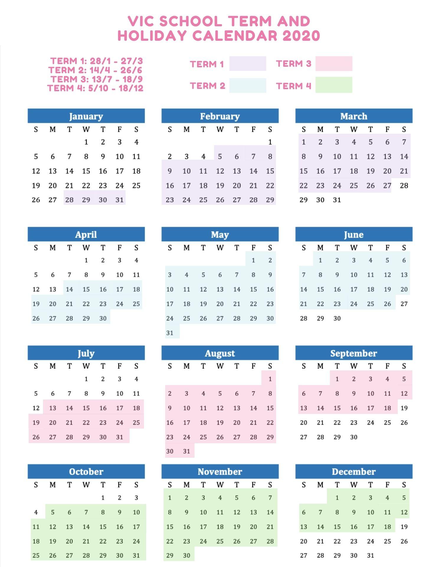 VIC School Holidays 2020