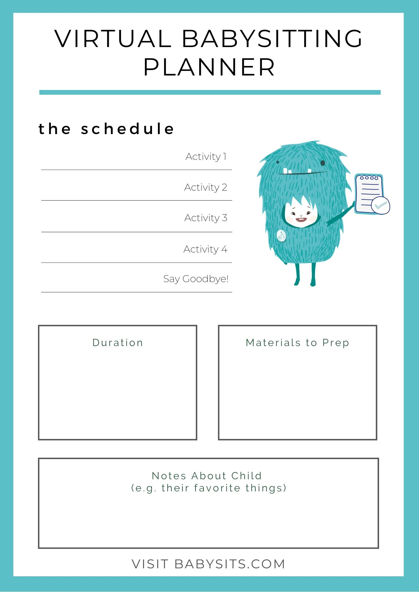 Virtual Babysitting Planner