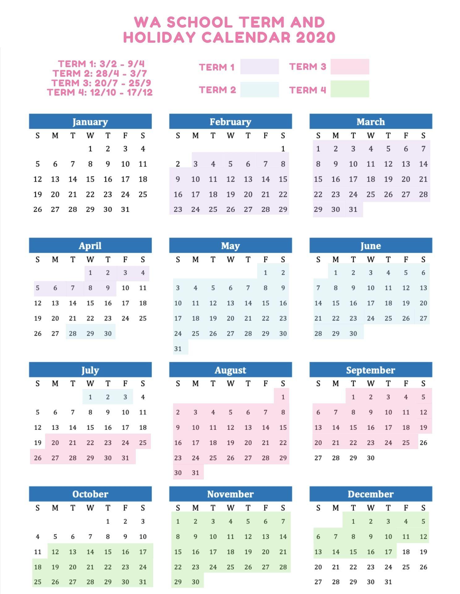 WA School Holidays 2020