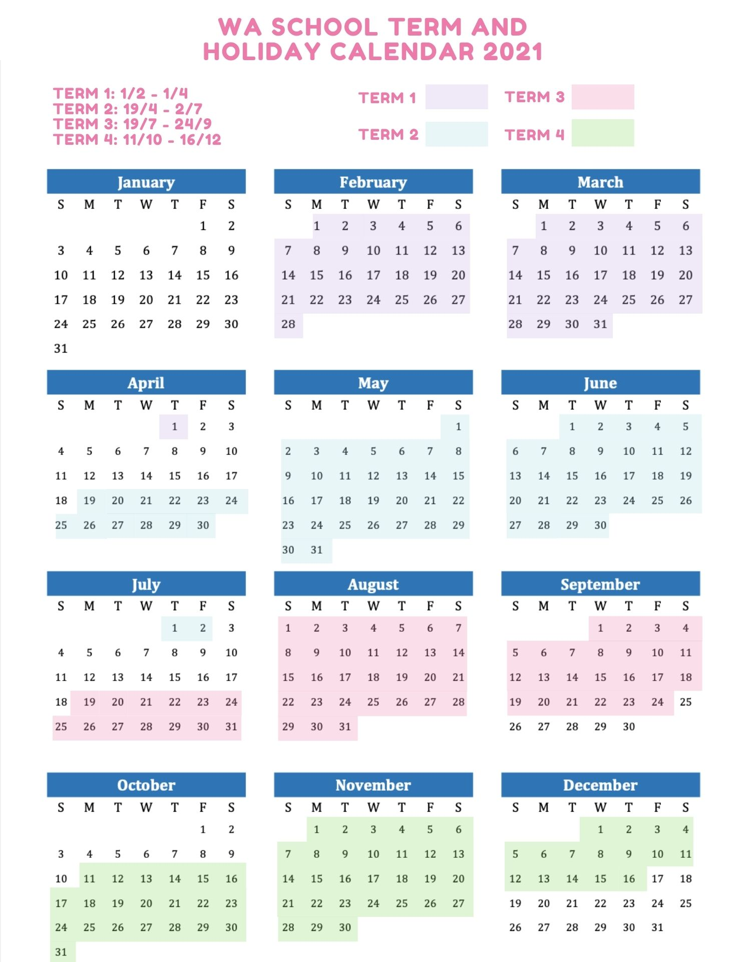 WA School Holidays 2021