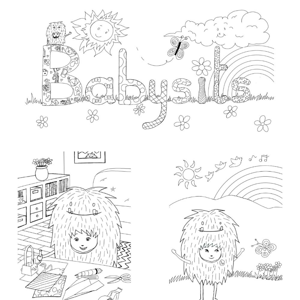 color the printable Babysits colouring book with Barry!