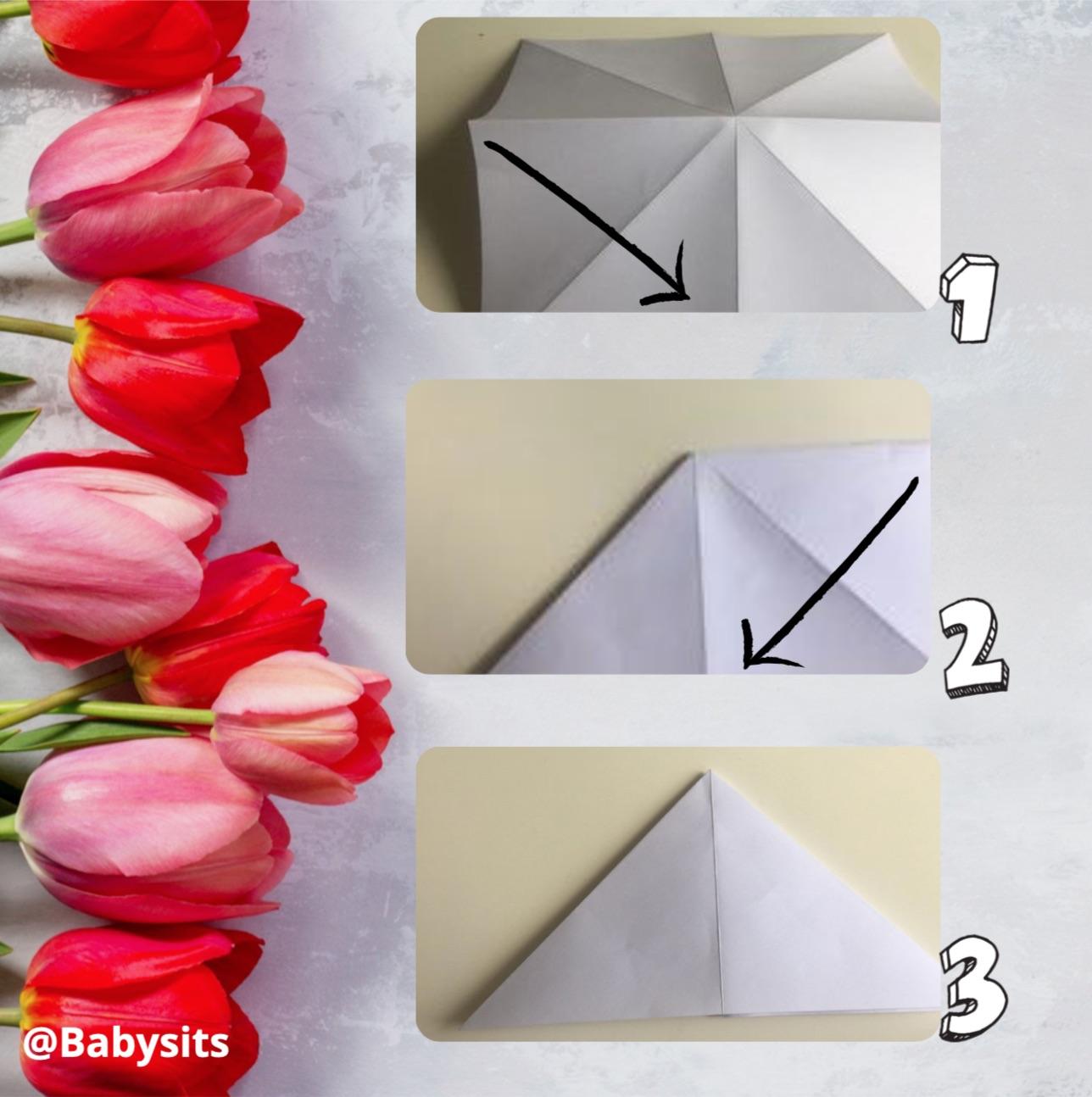 origami tulpen stap 2