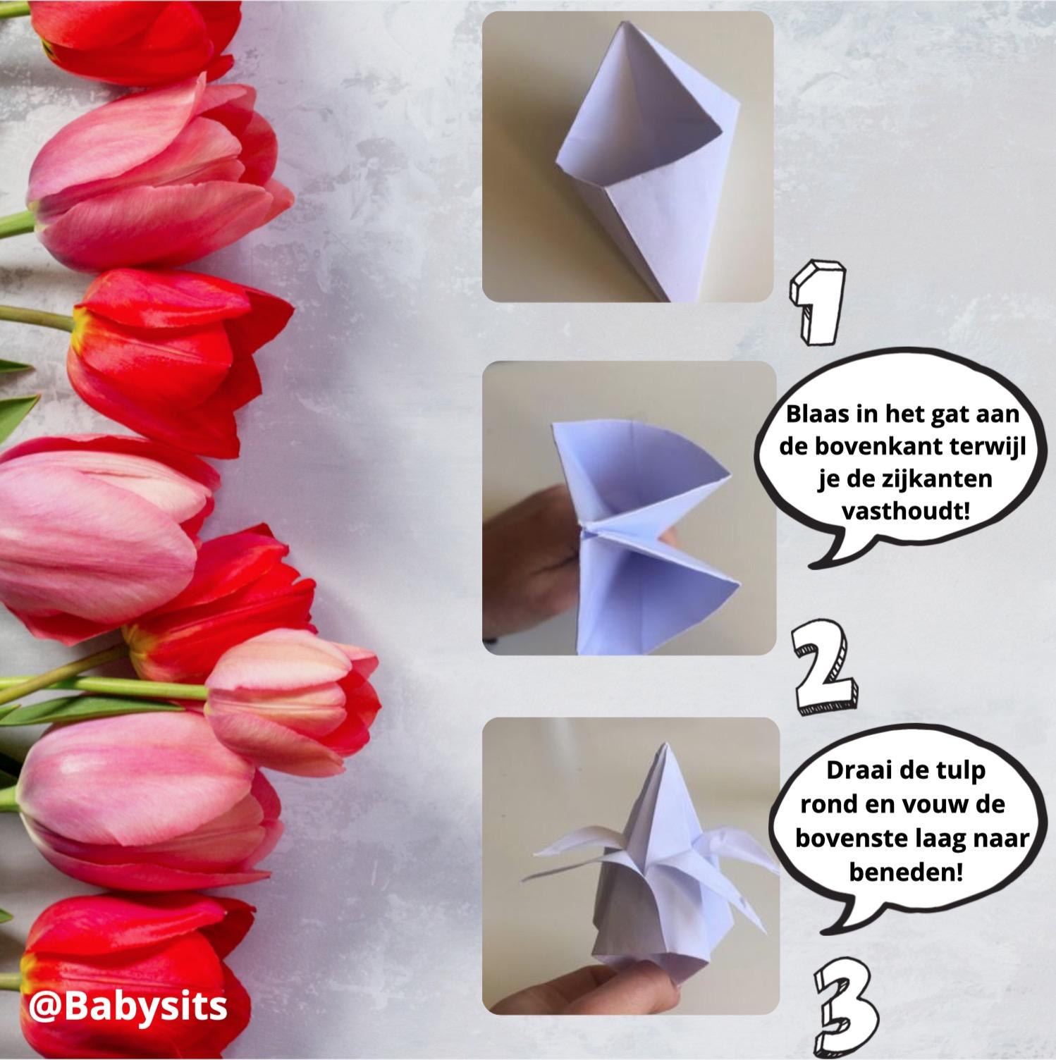 origami tulpen voor moederdag