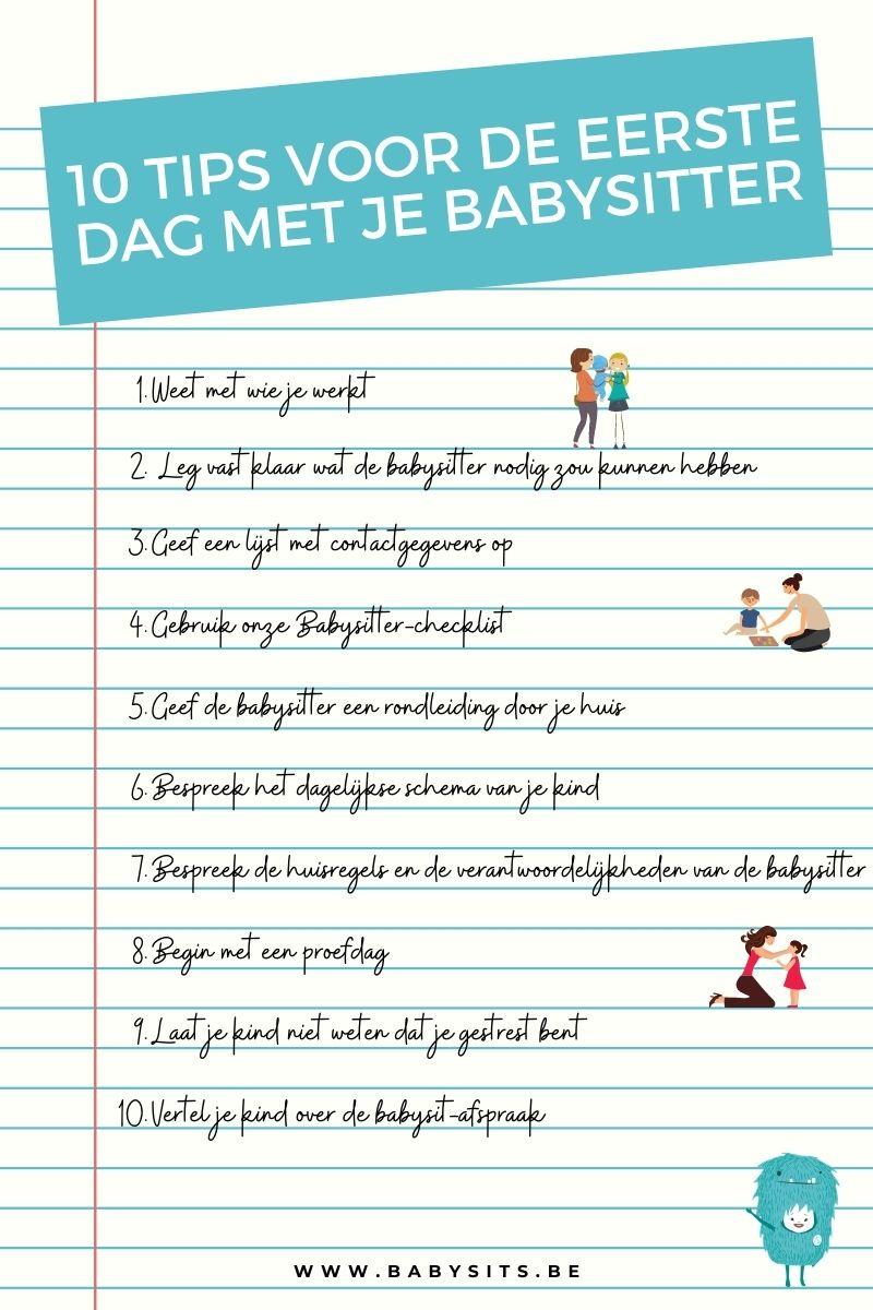 10 Tips voor de eerste dag met je babysitter