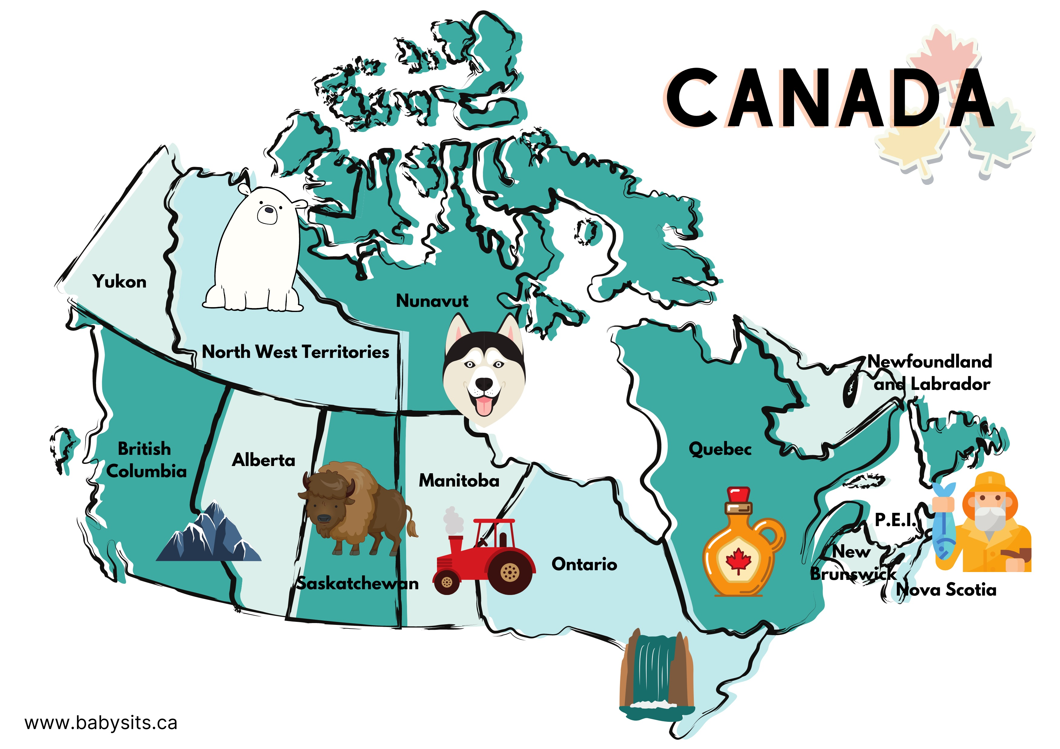 map of Canada for Kids
