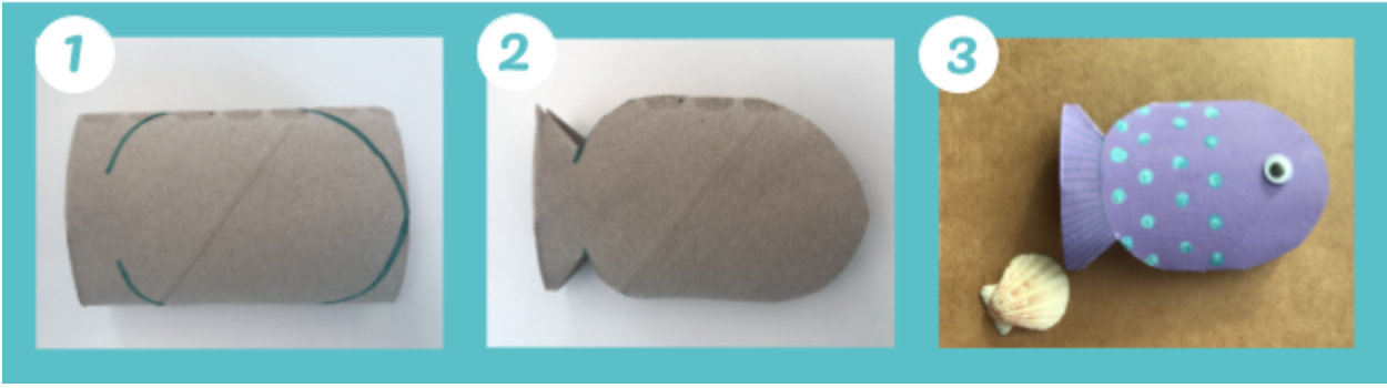 Animali marini fatti con i rotoli di carta igienica: il pesciolino