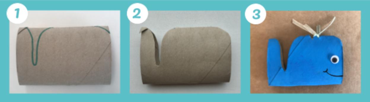 Animali marini fatti con i rotoli di carta igienica: la balena