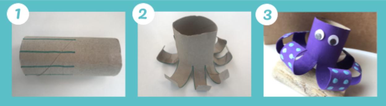 Animali marini fatti con i rotoli di carta igienica: il polpo