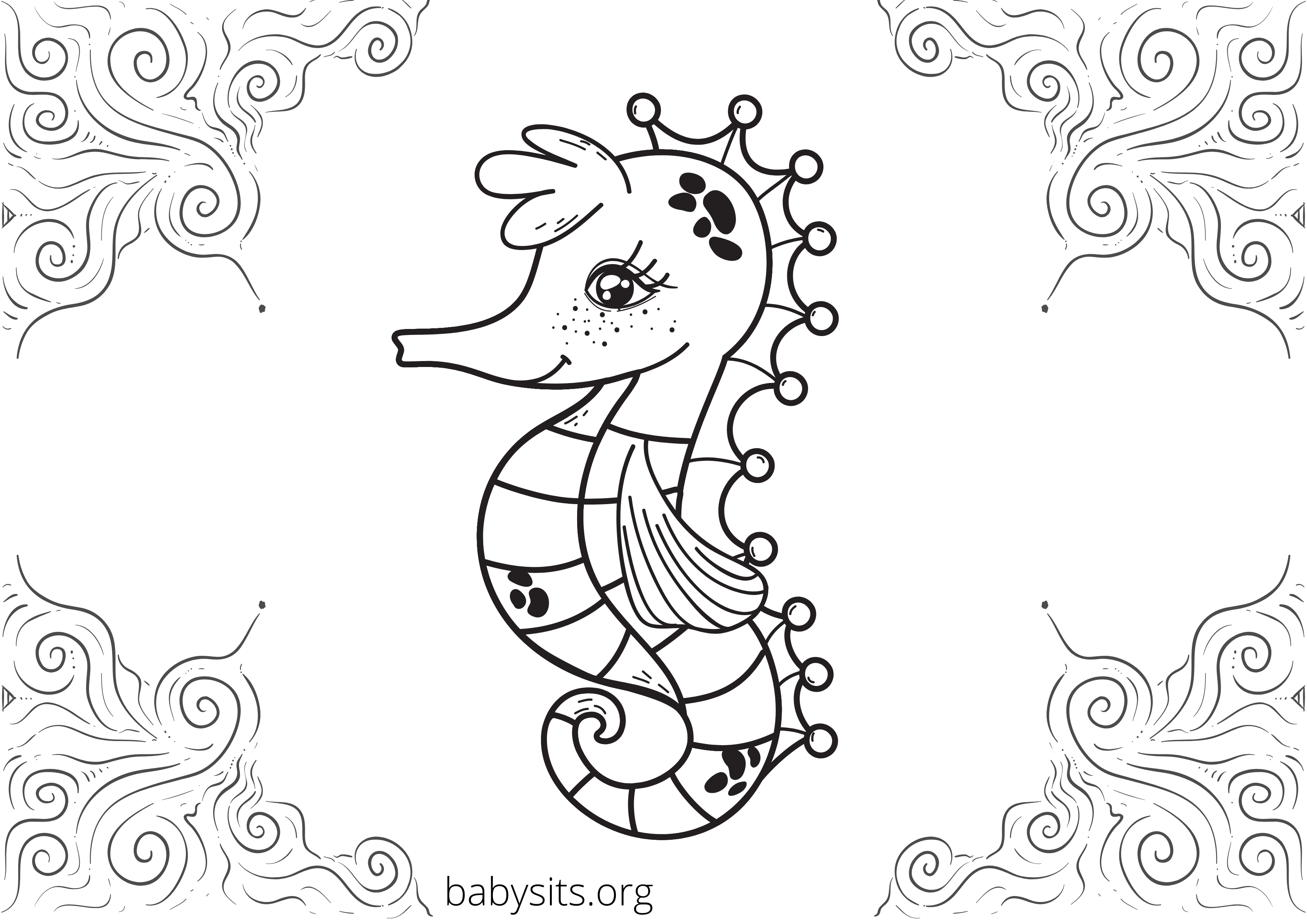 Sea horse colouring page
