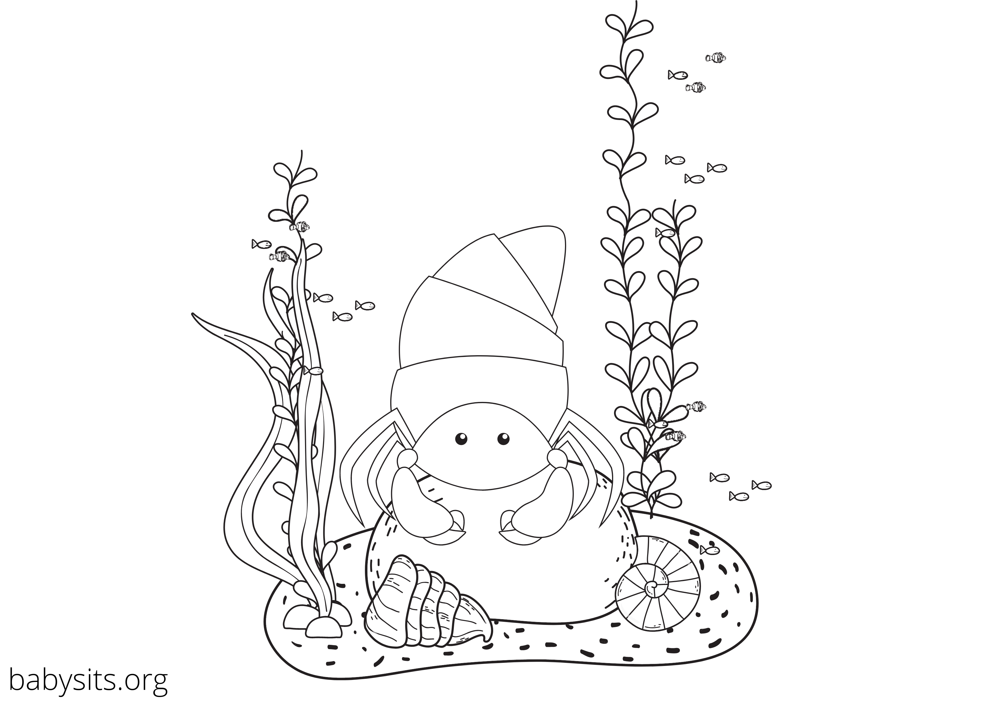 Crab under the sea colouring page