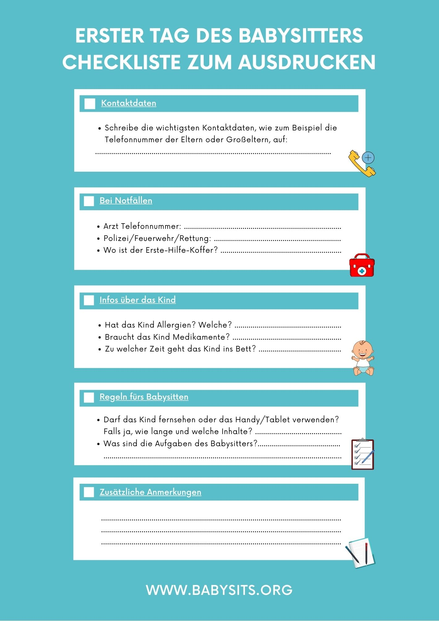 Babysitting Checkliste
