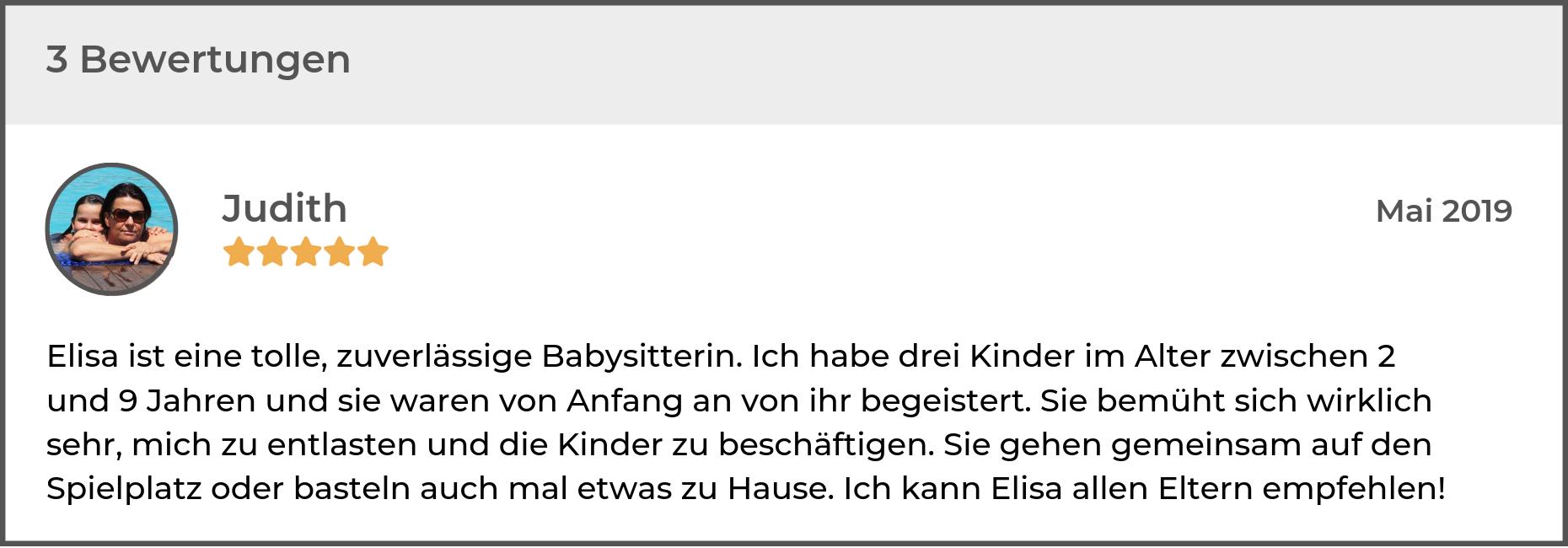 Ein Beispiel für eine aussagekräftige Bewertung eines Babysitters