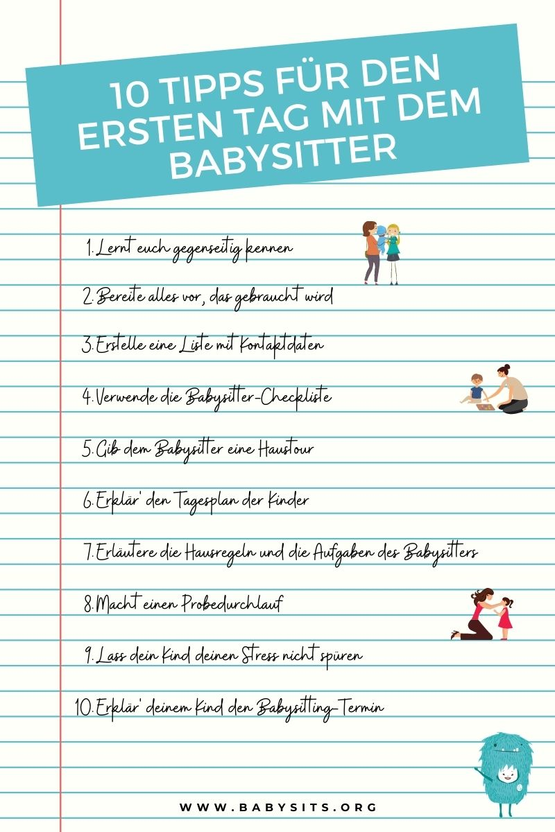 10 Tipps für den ersten Tag mit dem Babysitter