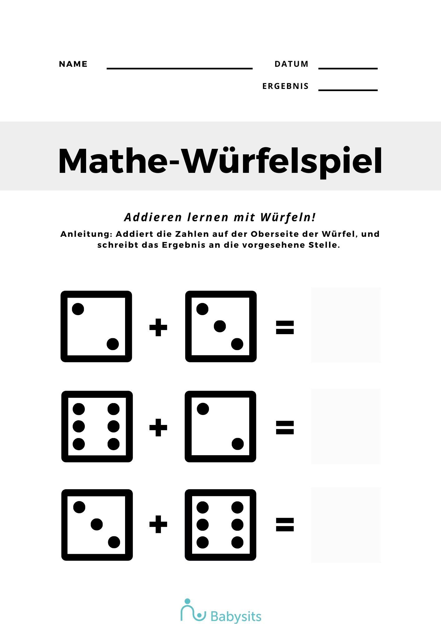 Mathe Übungsblatt mit Würfeln rechnen lernen