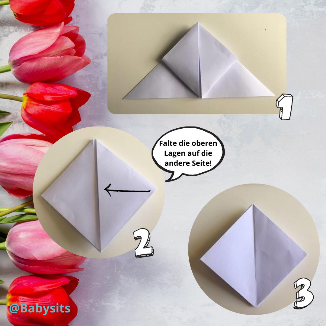 Origami Blume falten Schritt 3