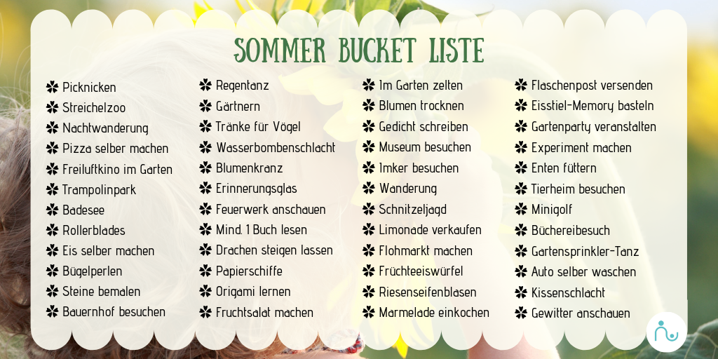 Bucket List Sommer 2019