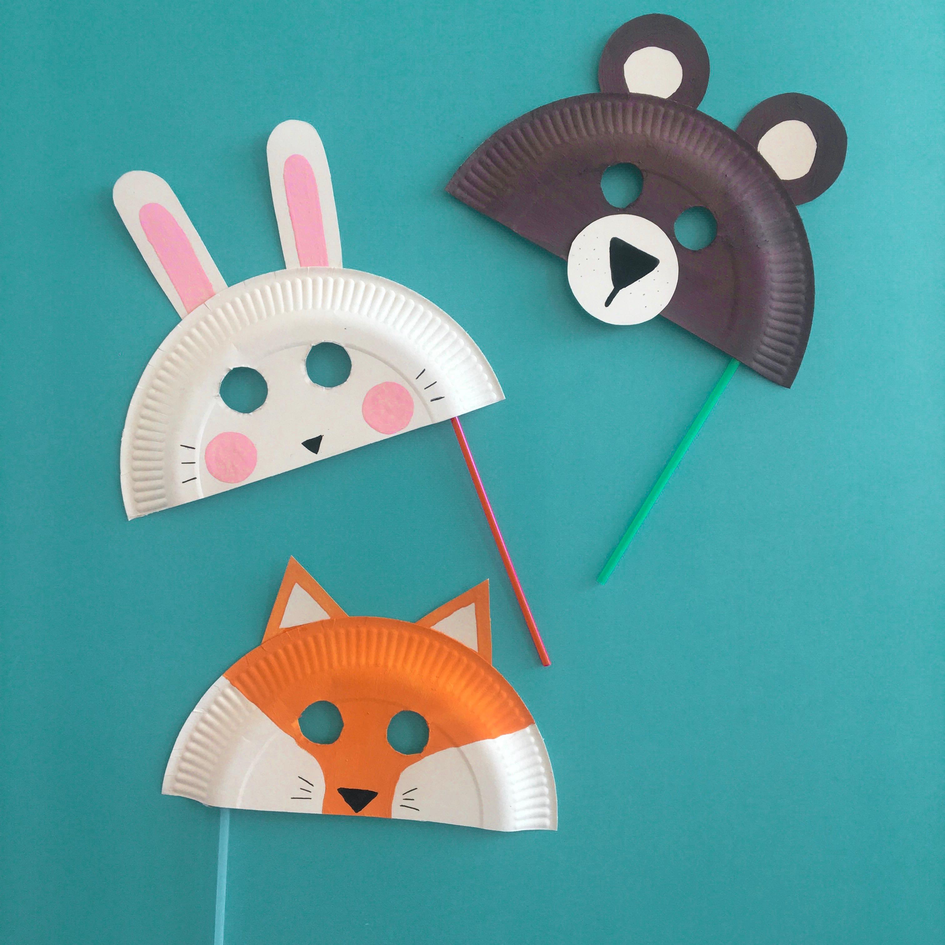 Tiermasken aus Papptellern