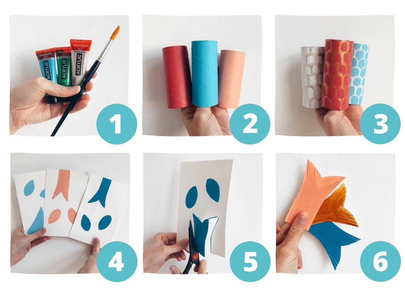 Pasos 1 - 6 de la carpa Koi con papel higiénico