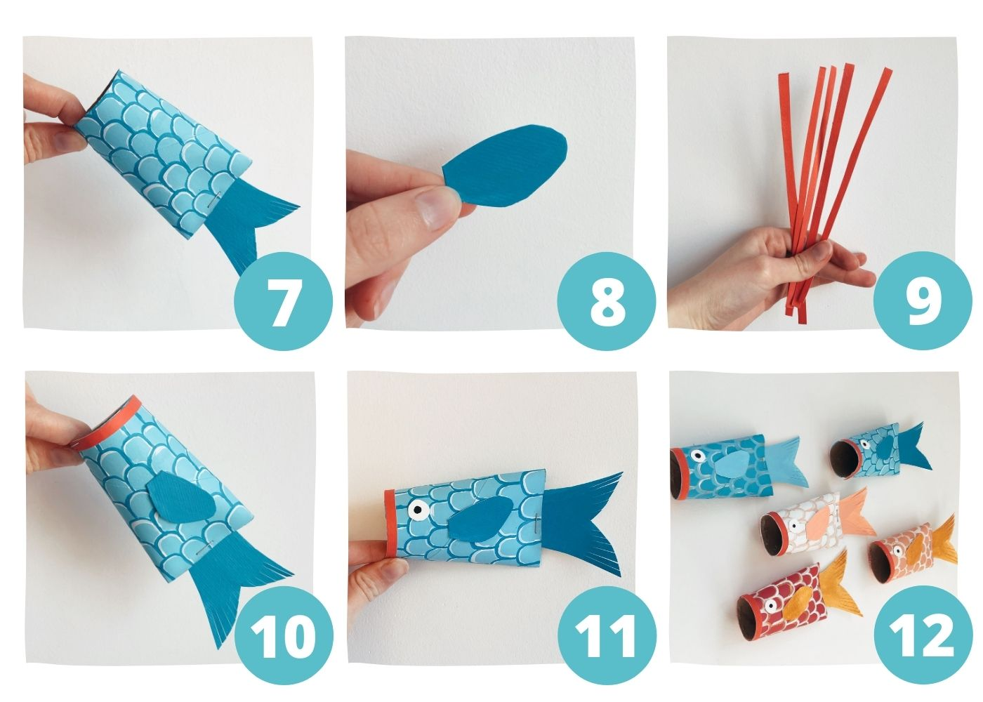 Koi Fish Toilet Paper Roll Crafts Steps7-12