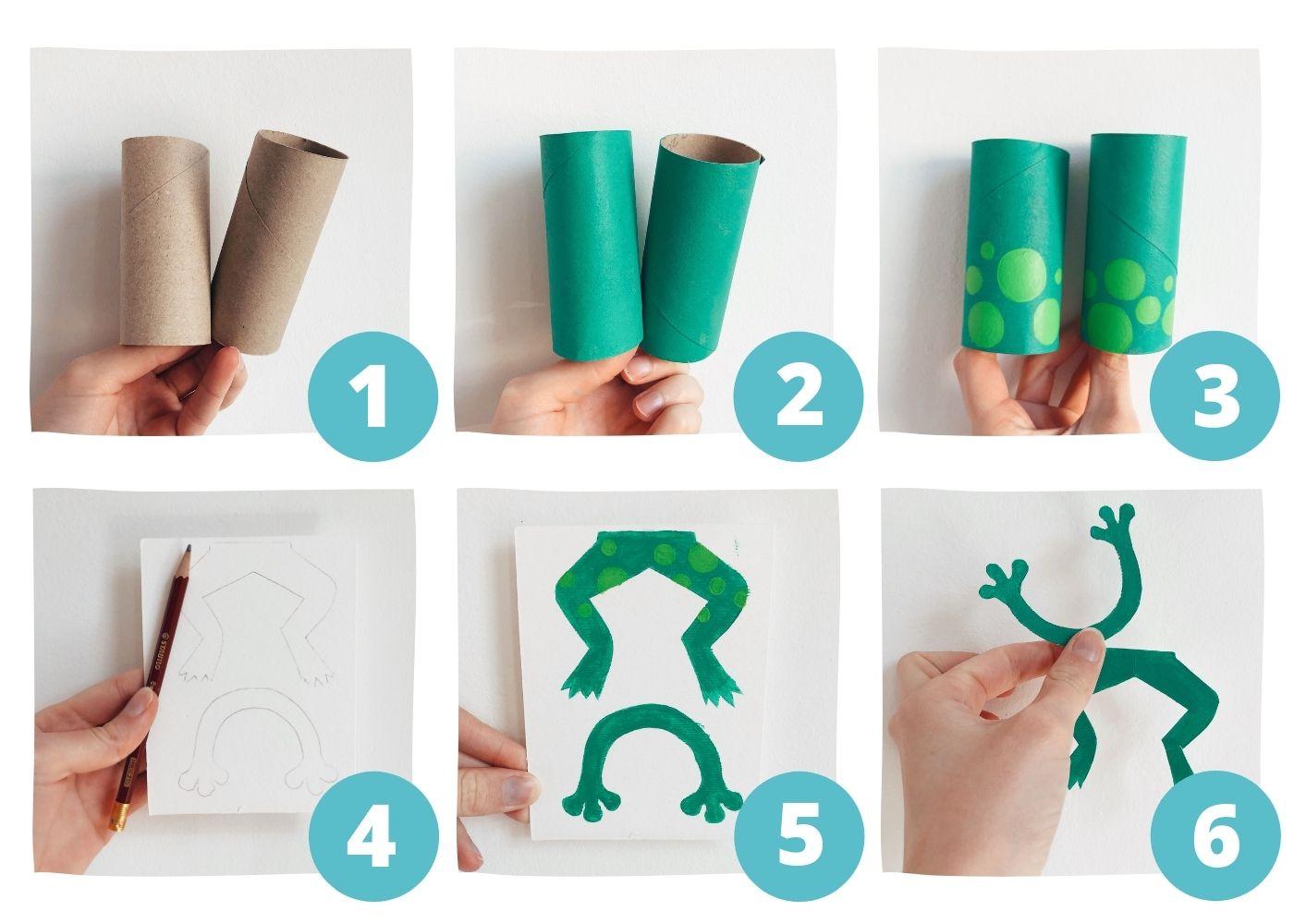 Pasos 1 - 6 de la rana con rollos de papel higiénico