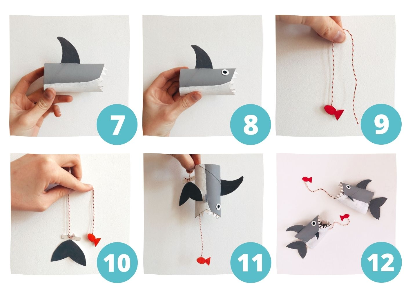 Shark DIY Toilet Paper Roll Crafts Steps7-12