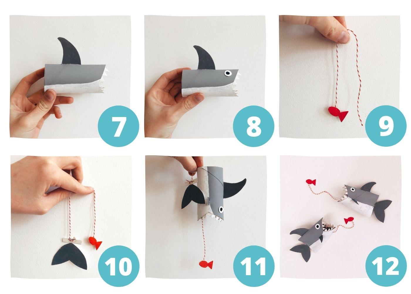 Pasos 7 - 12 del tiburón con rollos de papel higiénico