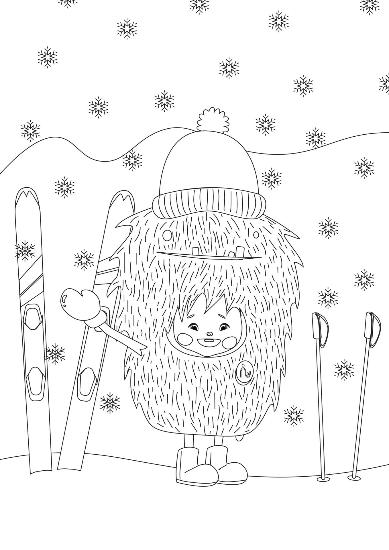 christmas skiing colouring page