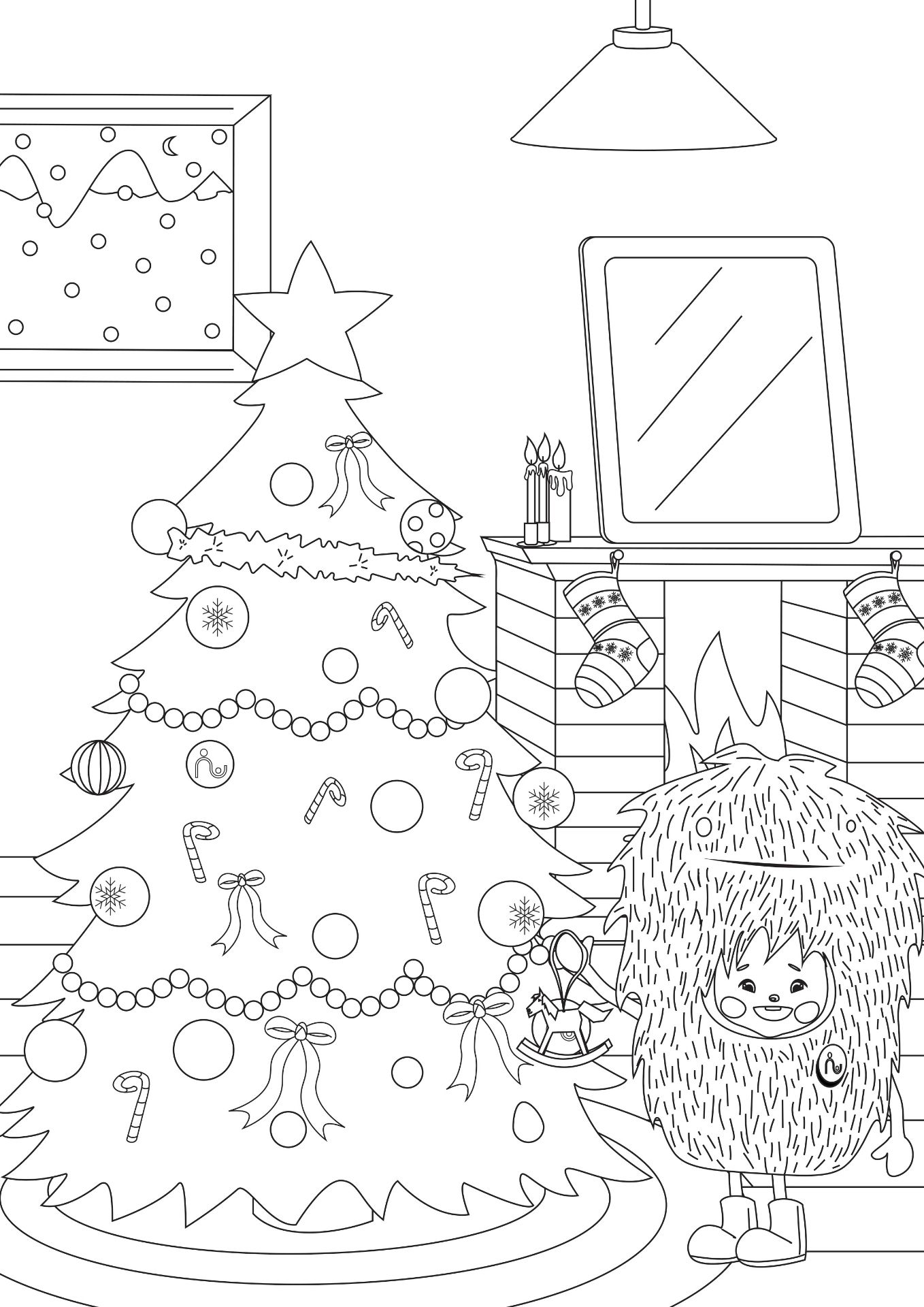 christmas tree colouring page