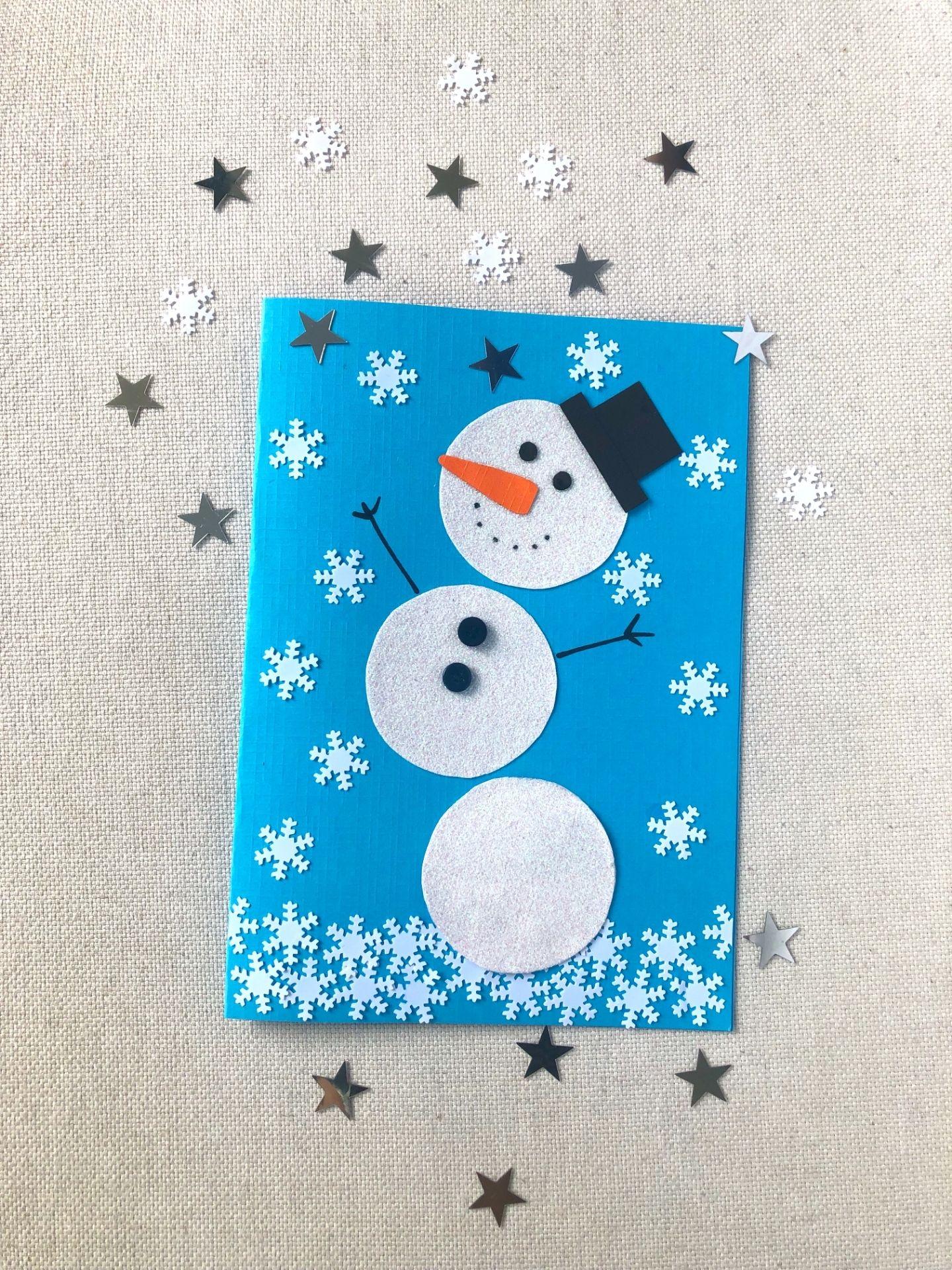 Schneemann Weihnachtskarte