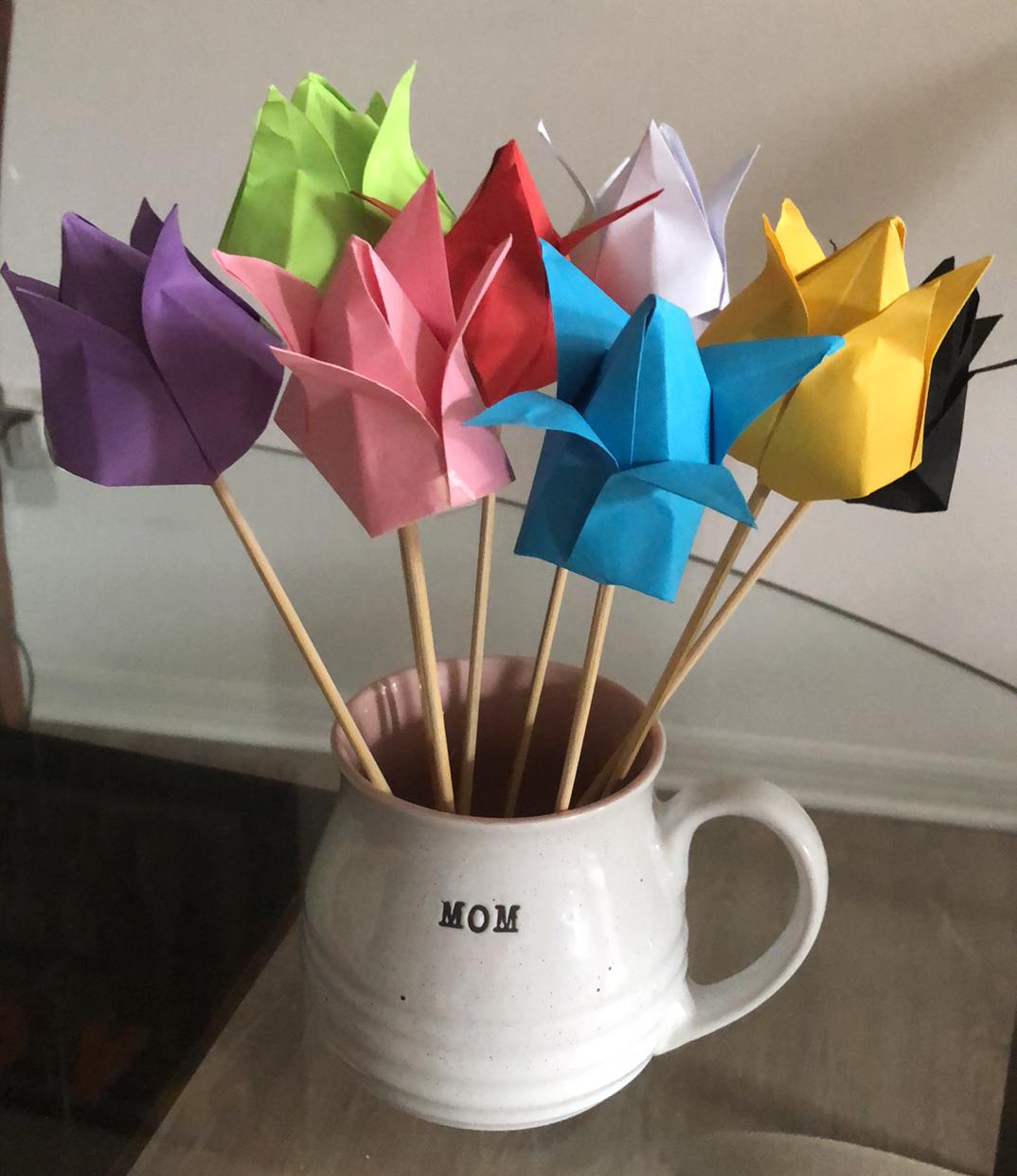 diy tulipes en origami fête des mères