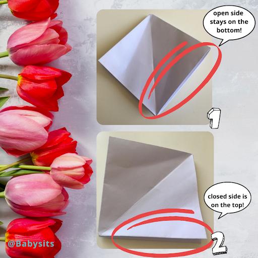 diy origami tulips step 4