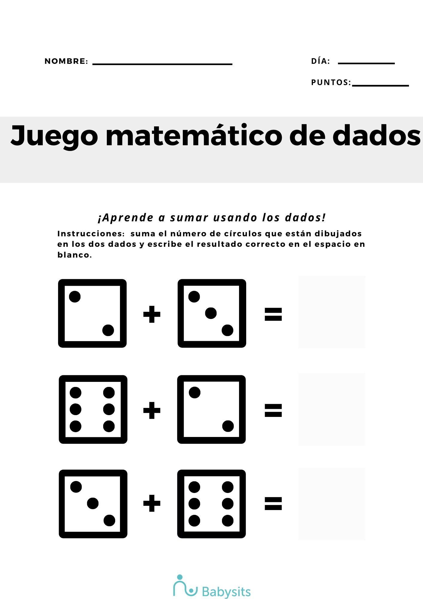 Actividad matemáticas niños