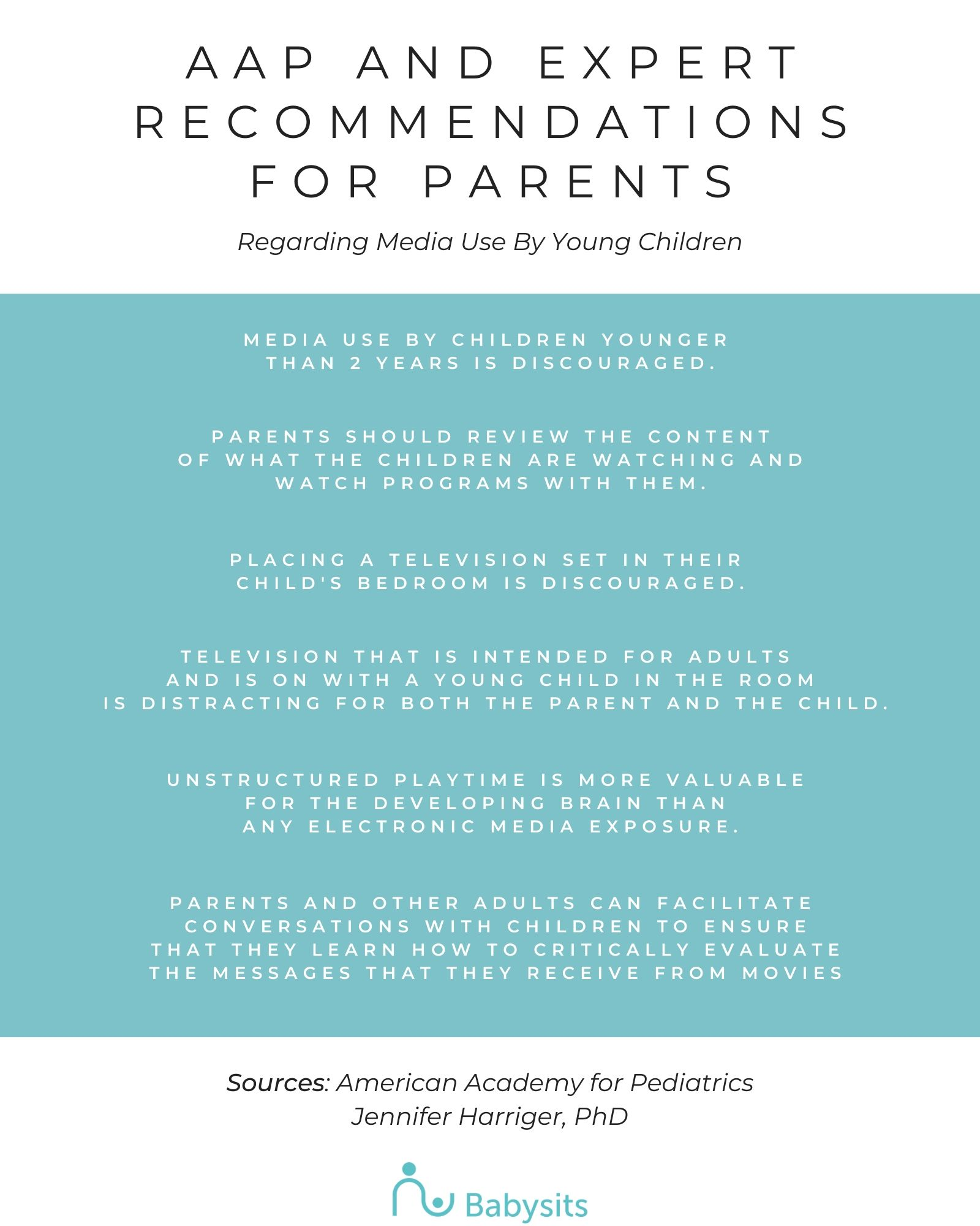 Recommendations for parents about child media use