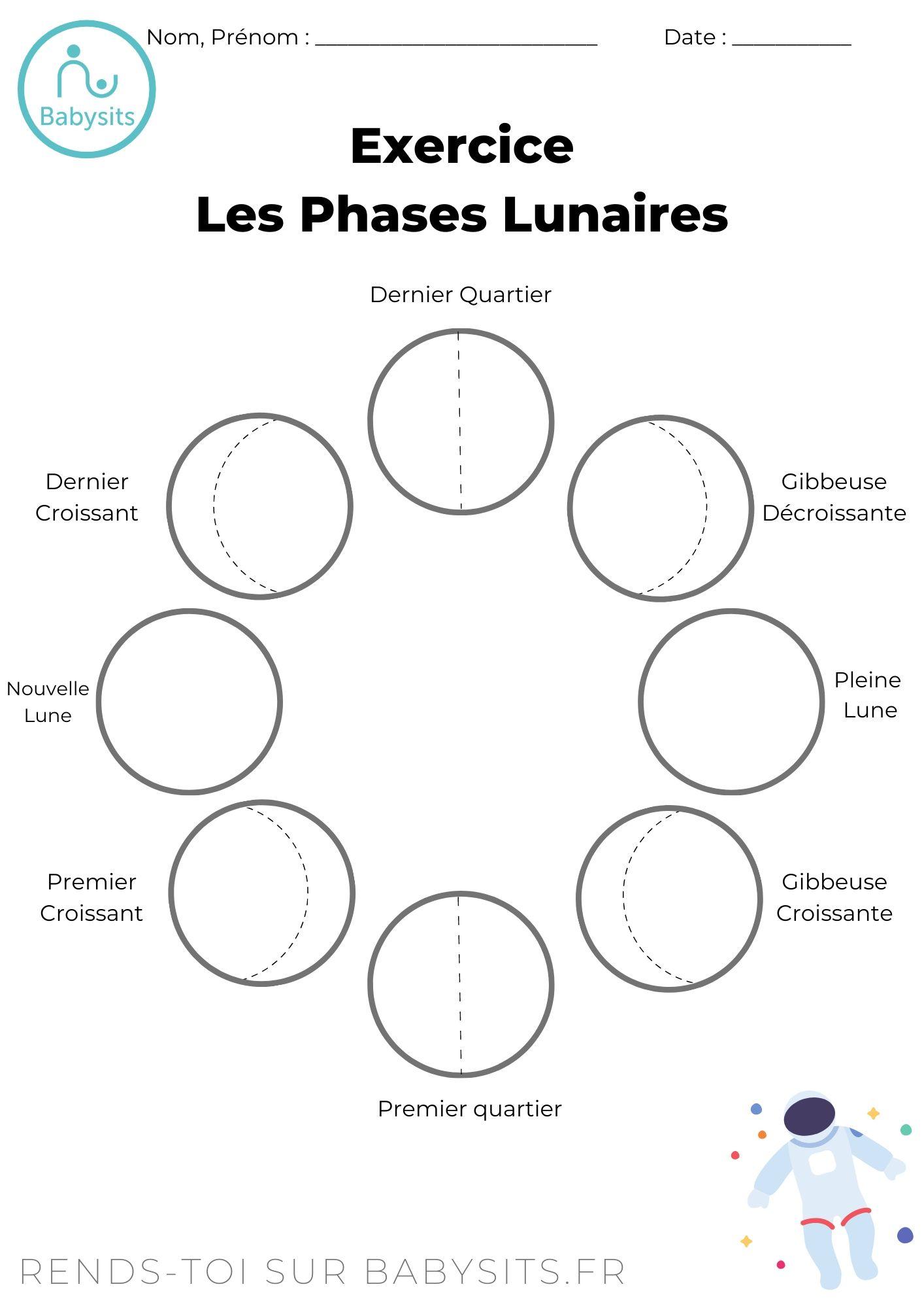Feuille d'Exercice Pour Apprendre les Phases Lunaires