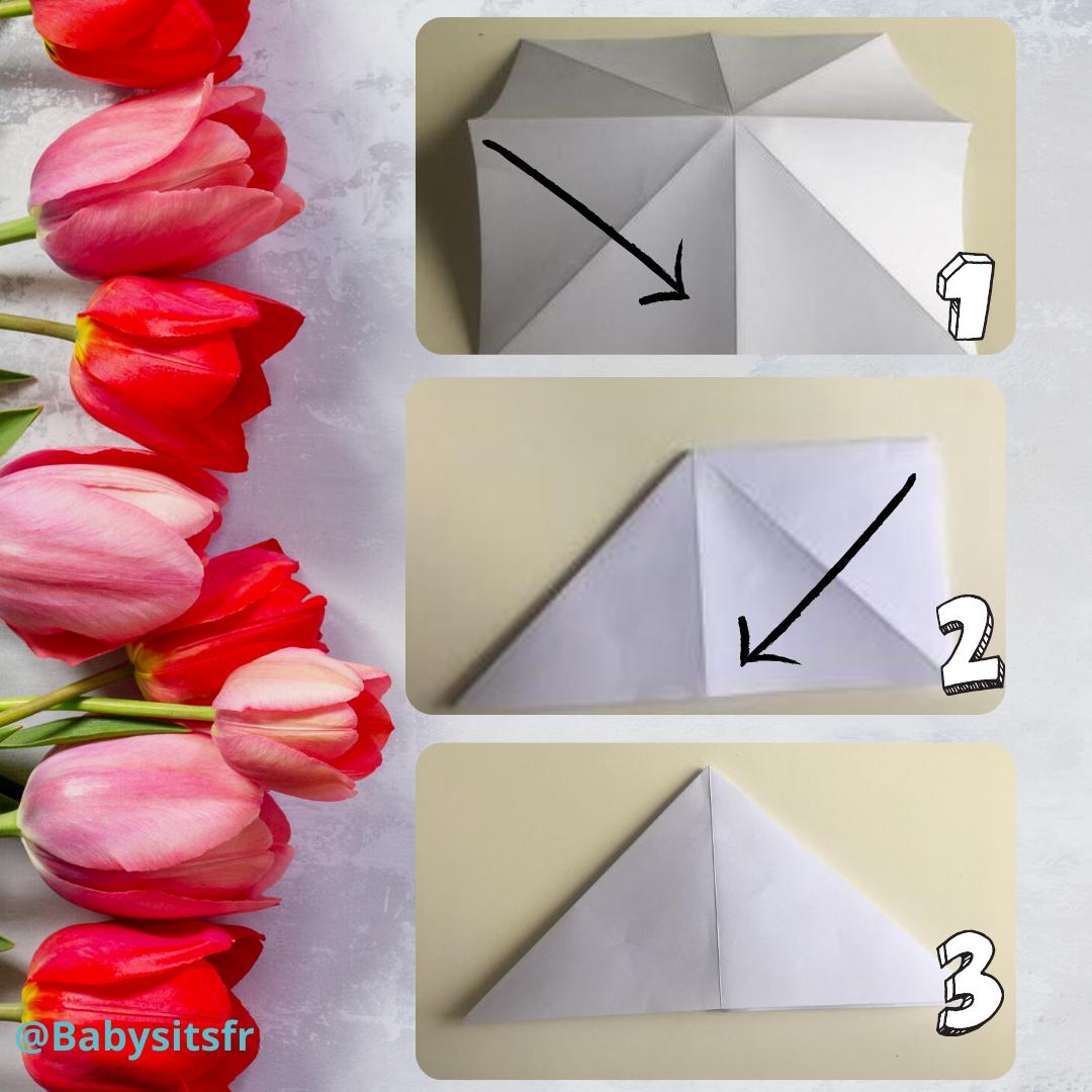 Tulipes en origami étapes 2-3