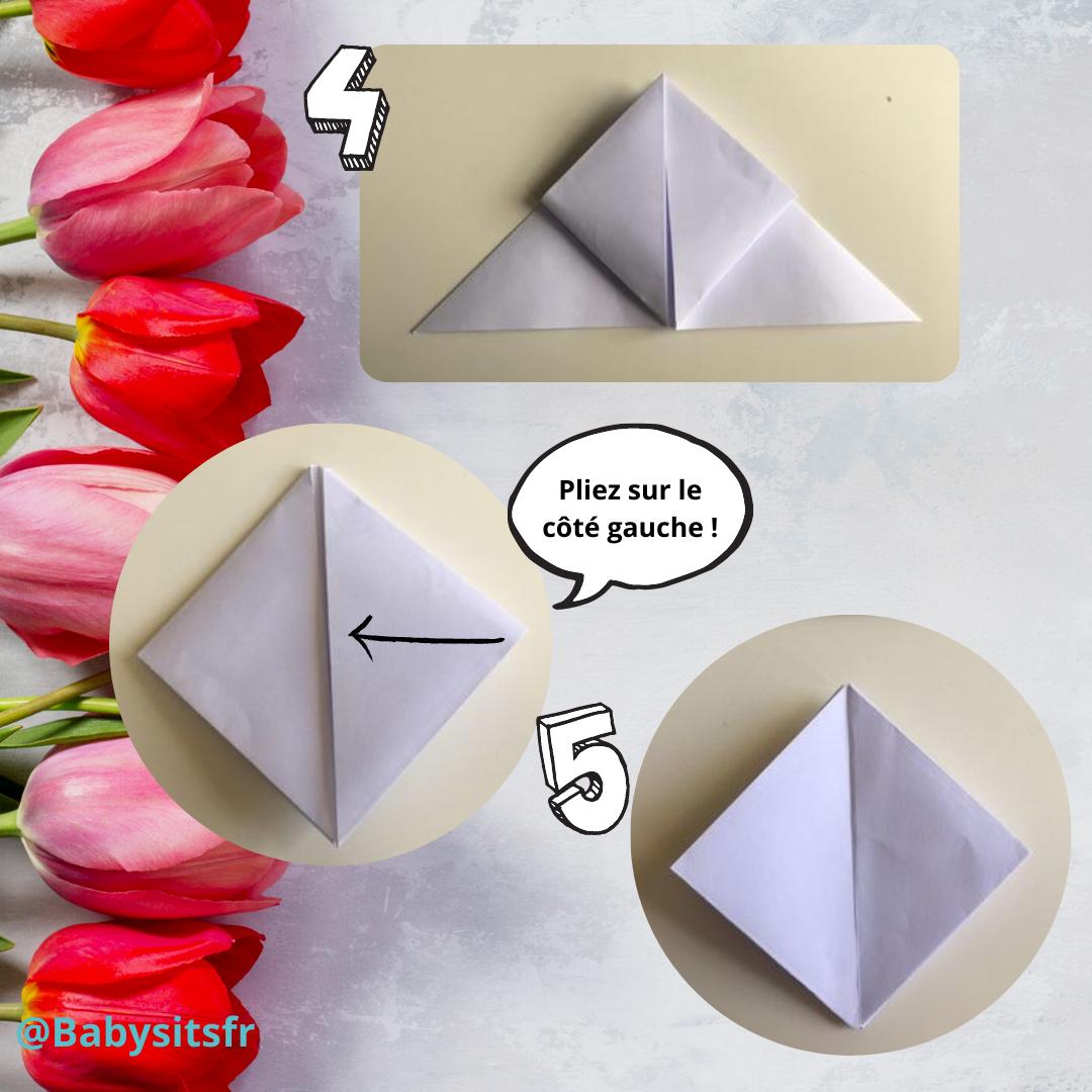 Tulipes en origami étapes 4-5