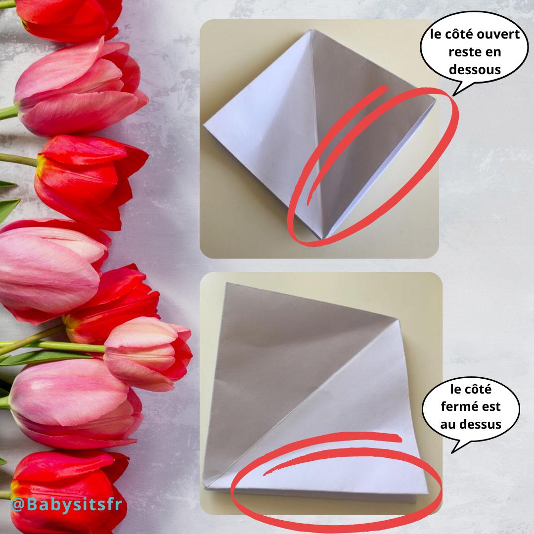 Tulipes en origami étape milieu