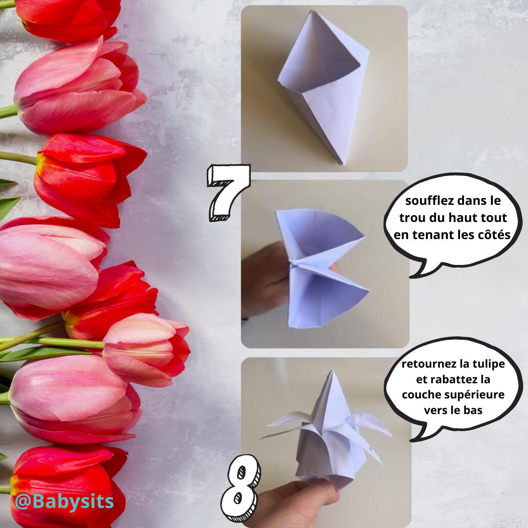 Tulipes en origami étapes 7-8