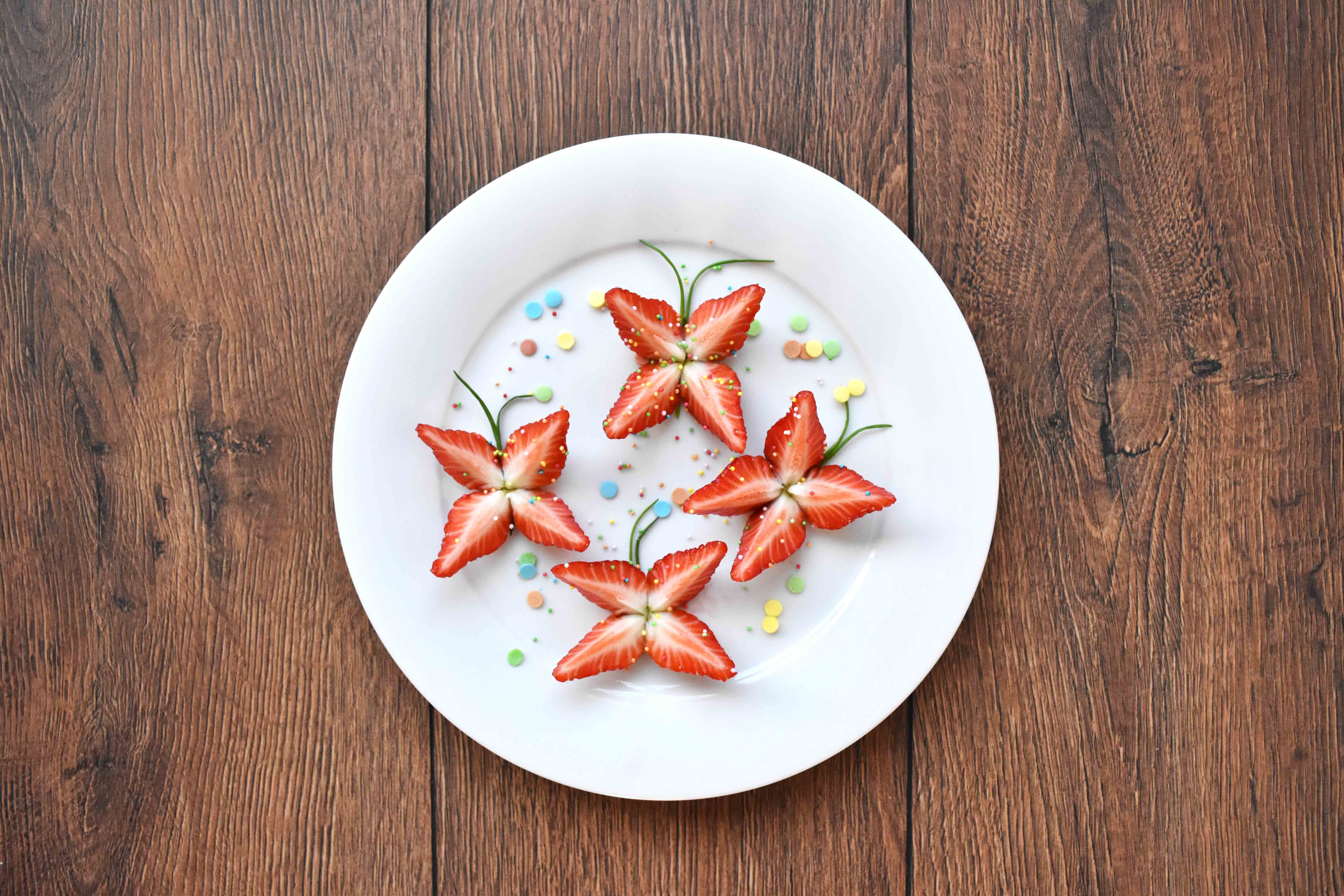 butterflies made out of strawberries