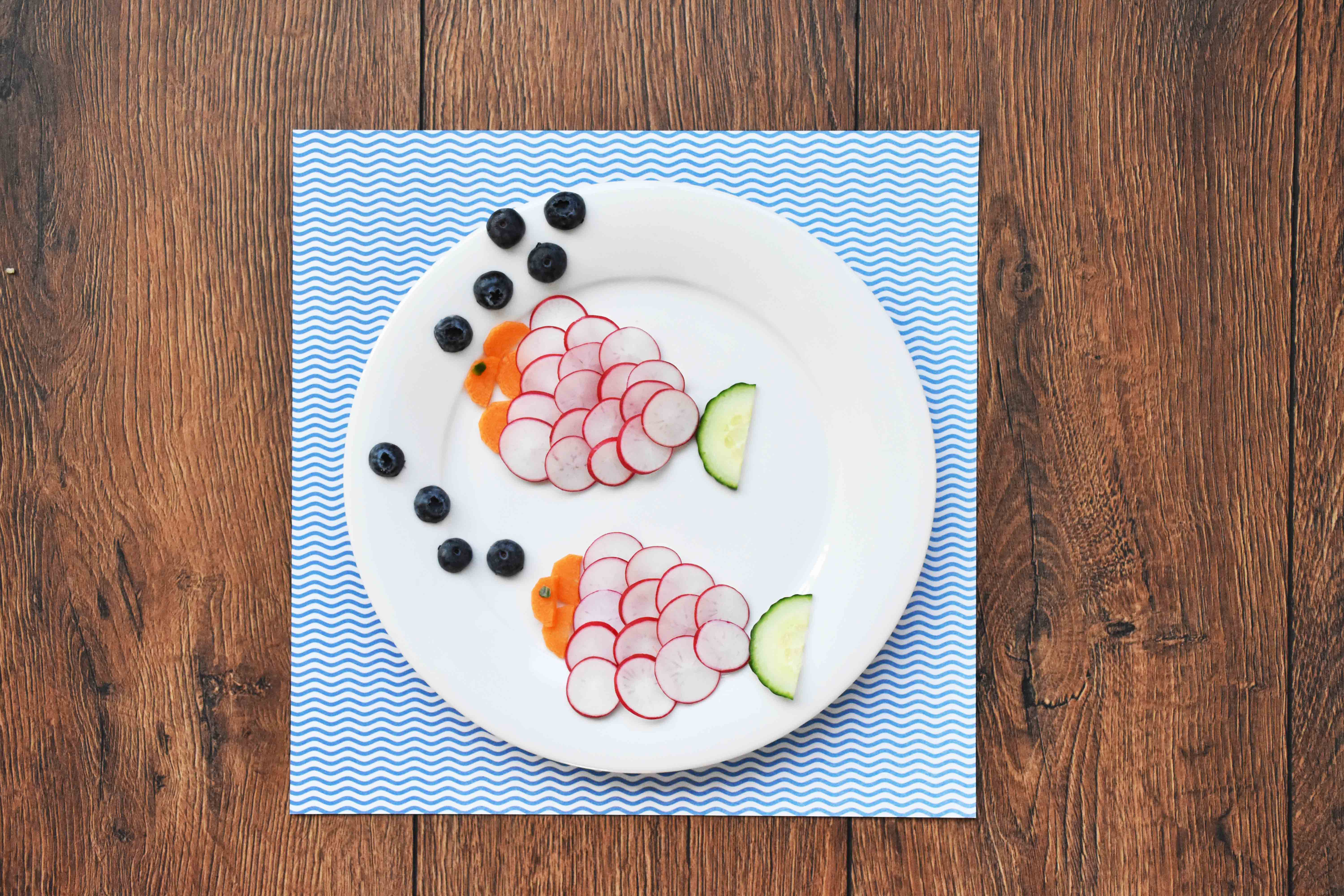 fish made out of radishes