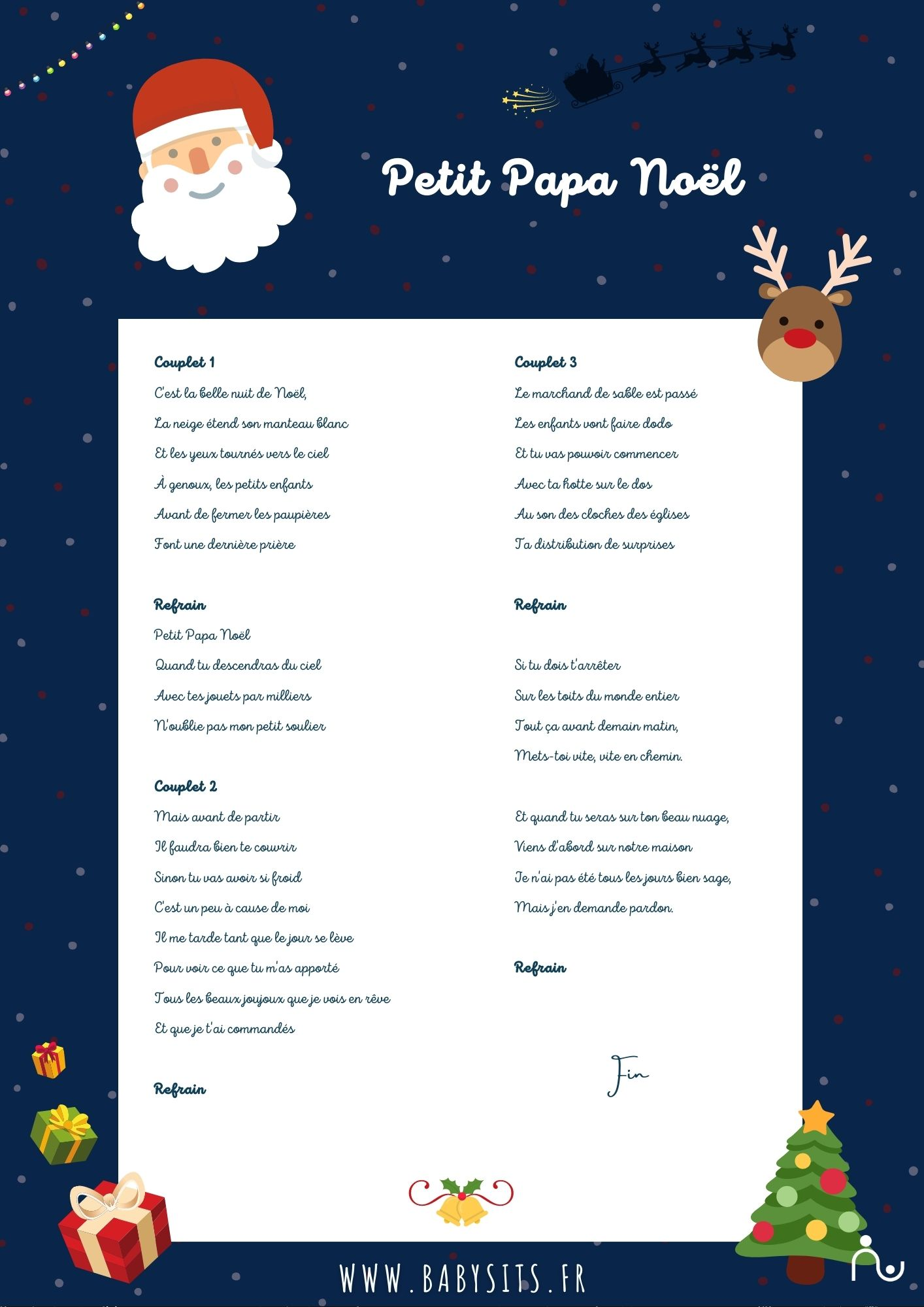 Chanson Petit Papa Noël Paroles