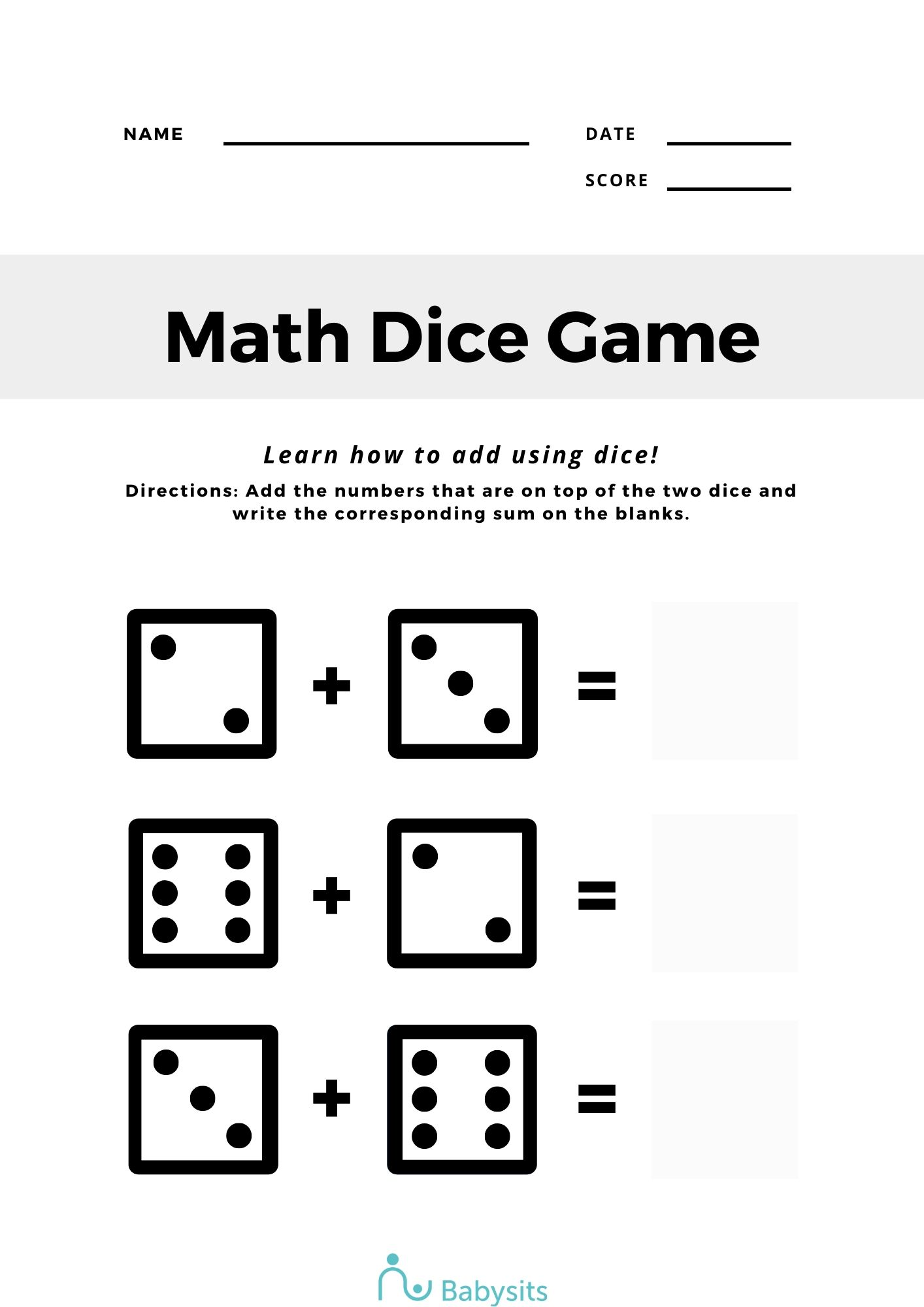 Maths activity sheet
