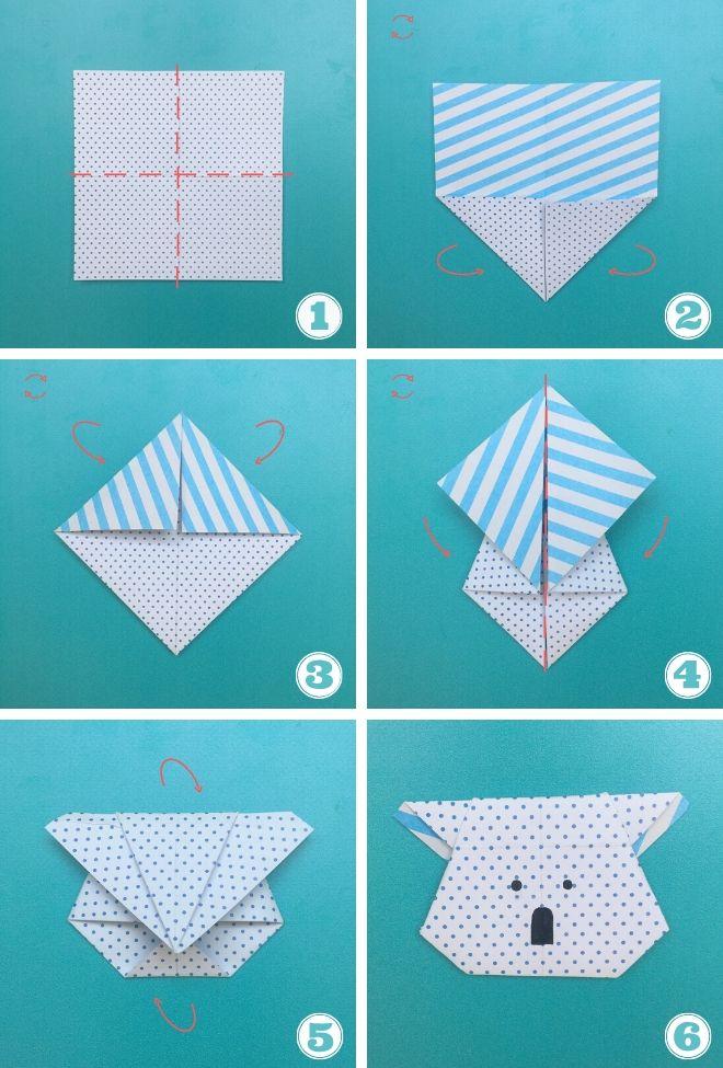 6 step per realizzare un koala origami